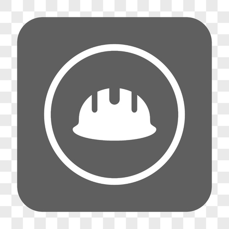 hardhat: Builder Hardhat interface toolbar button. Vector icon style is a flat symbol inside a rounded square button, white and gray colors, chess transparent background.