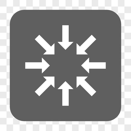 concentrate: Collapse Arrows interface toolbar button. Vector icon style is a flat symbol inside a rounded square button, white and gray colors, chess transparent background. Illustration
