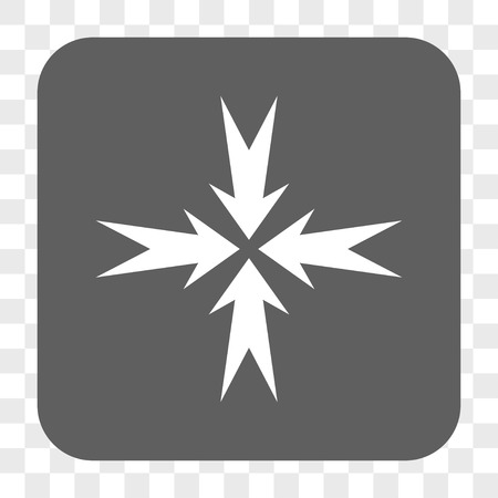 compression: Compression Arrows interface toolbar button. Vector icon style is a flat symbol on a rounded square button, white and gray colors, chess transparent background.