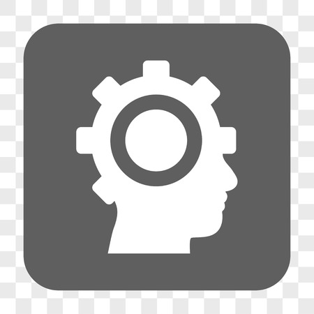 robo: Cyborg Gear interface toolbar button. Vector icon style is a flat symbol on a rounded square button, white and gray colors, chess transparent background. Illustration