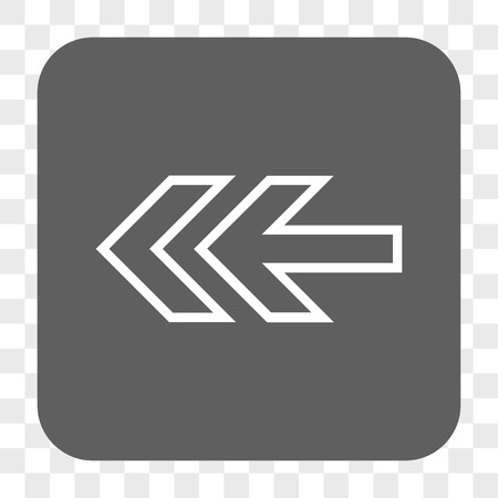 redirect: Direction Left interface toolbar button. Vector icon style is a flat symbol in a rounded square button, white and gray colors, chess transparent background.