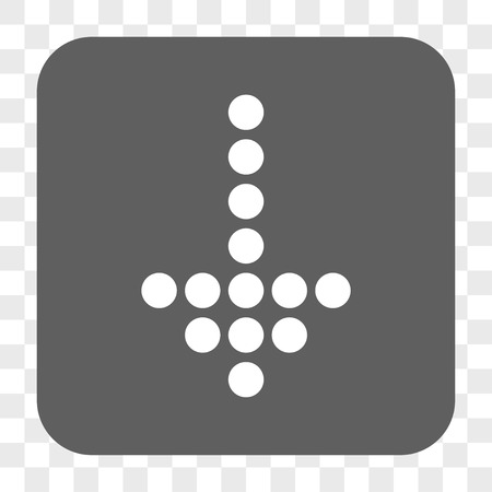failing: Dotted Arrow Down interface toolbar button. Vector icon style is a flat symbol in a rounded square button, white and gray colors, chess transparent background.