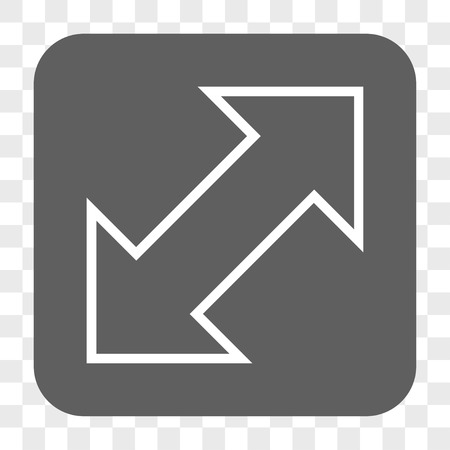 parallels: Exchange Diagonal interface toolbar button. Vector icon style is a flat symbol on a rounded square button, white and gray colors, chess transparent background. Illustration