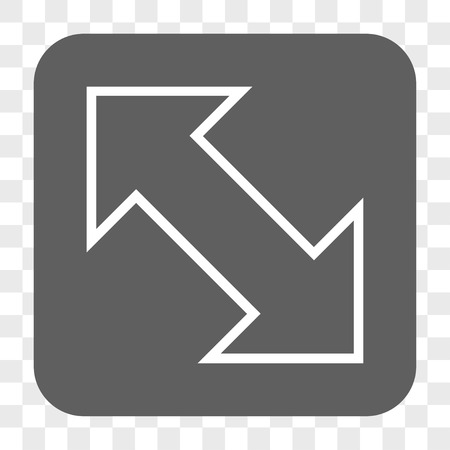 diagonal  square: Exchange Diagonal interface toolbar button. Vector icon style is a flat symbol inside a rounded square button, white and gray colors, chess transparent background.