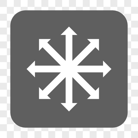 outwards: Expand Arrows interface toolbar button. Vector icon style is a flat symbol inside a rounded square button, white and gray colors, chess transparent background.