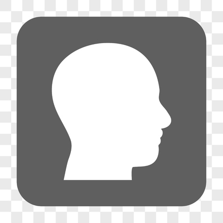 head profile: Head Profile interface toolbar button. Vector icon style is a flat symbol in a rounded square button, white and gray colors, chess transparent background.