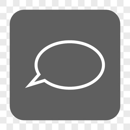 hint: Hint Cloud interface toolbar button. Vector icon style is a flat symbol on a rounded square button, white and gray colors, chess transparent background. Illustration
