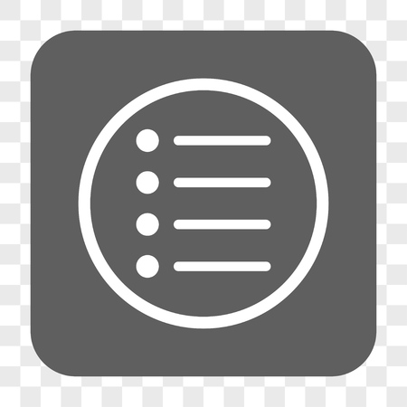 numerate: Items interface toolbar button. Vector icon style is a flat symbol in a rounded square button, white and gray colors, chess transparent background.
