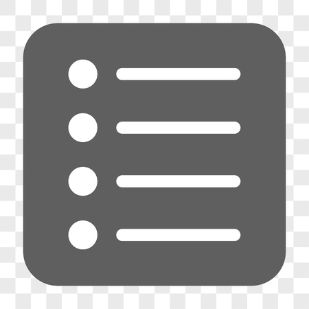 numerate: Items interface toolbar button. Vector icon style is a flat symbol inside a rounded square button, white and gray colors, chess transparent background.