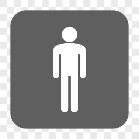 persona: Man interface toolbar button. Vector icon style is a flat symbol on a rounded square button, white and gray colors, chess transparent background. Illustration