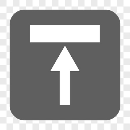 top pointer: Move Top interface toolbar button. Vector icon style is a flat symbol inside a rounded square button, white and gray colors, chess transparent background. Illustration