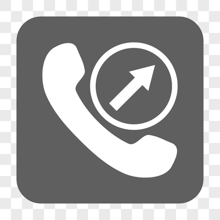 outgoing: Outgoing Call interface toolbar button. Vector icon style is a flat symbol on a rounded square button, white and gray colors, chess transparent background.