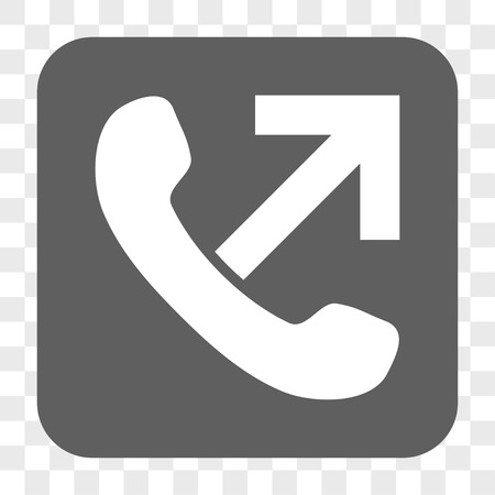 outgoing: Outgoing Call interface toolbar button. Vector icon style is a flat symbol in a rounded square button, white and gray colors, chess transparent background. Illustration