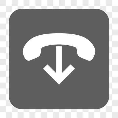 hang up: Phone Hang Up interface toolbar button. Vector icon style is a flat symbol inside a rounded square button, white and gray colors, chess transparent background. Illustration