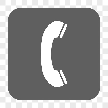 phone receiver: Phone Receiver interface toolbar button. Vector icon style is a flat symbol in a rounded square button, white and gray colors, chess transparent background.