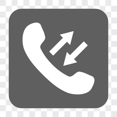 phone talking: Phone Talking interface toolbar button. Vector icon style is a flat symbol inside a rounded square button, white and gray colors, chess transparent background.