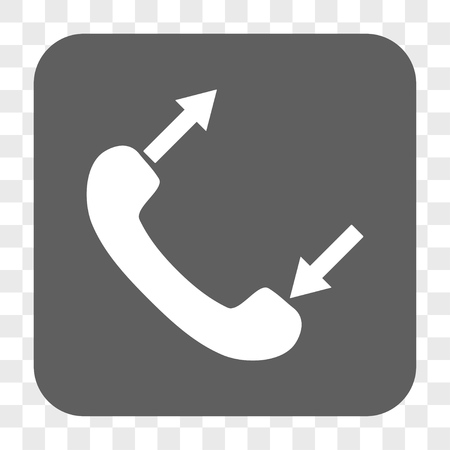 outgoing: Phone Talking interface toolbar button. Vector icon style is a flat symbol in a rounded square button, white and gray colors, chess transparent background.