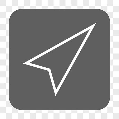 upward movements: Pointer Right Up interface toolbar button. Vector icon style is a flat symbol inside a rounded square button, white and gray colors, chess transparent background. Illustration