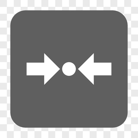 shrink: Pressure Horizontal interface toolbar button. Vector icon style is a flat symbol inside a rounded square button, white and gray colors, chess transparent background. Illustration