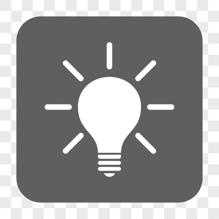 hint: Light Bulb interface toolbar button. Vector icon style is a flat symbol on a rounded square button, white and gray colors, chess transparent background.