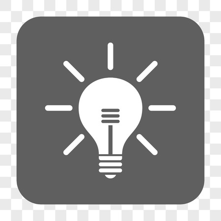 light emission: Light Bulb interface toolbar button. Vector icon style is a flat symbol inside a rounded square button, white and gray colors, chess transparent background.