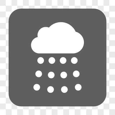 raindrop: Rain Cloud interface toolbar button. Vector icon style is a flat symbol in a rounded square button, white and gray colors, chess transparent background. Illustration