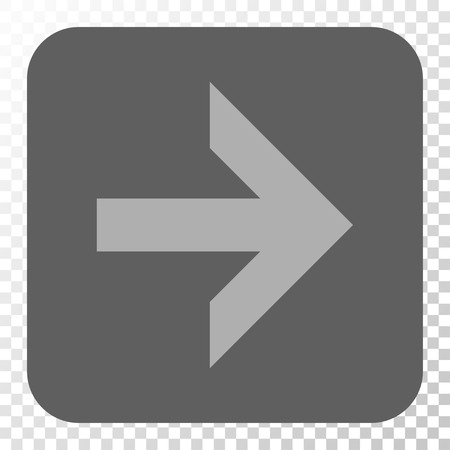 redirect: Arrow Right toolbar icon. Vector pictograph style is a flat symbol on a rounded square button, light gray and gray colors, chess transparent background.