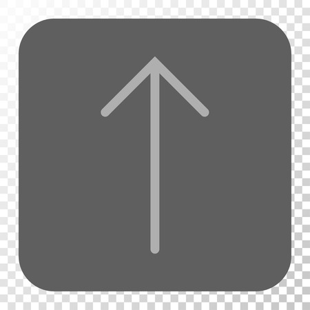 Arrow Up interface toolbar icon. Vector pictogram style is a flat symbol in a rounded square button, light gray and gray colors, chess transparent background.