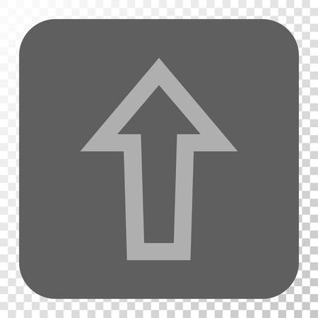 Flèche vers le haut bouton carré. Style de pictogramme de vecteur est un symbole plat à l'intérieur d'un bouton carré arrondi, couleurs gris clair et gris, fond transparent d'échecs.