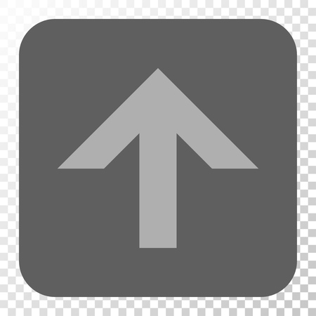 Arrow Up interface button. Vector pictograph style is a flat symbol on a rounded square button, light gray and gray colors, chess transparent background.