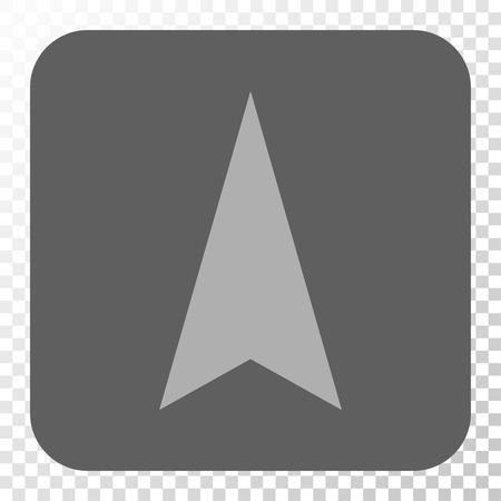 Bouton d'interface Arrowhead Up. Style de pictogramme de vecteur est un symbole plat sur un bouton carré arrondi, couleurs gris clair et gris, fond transparent d'échecs.