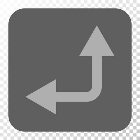 bifurcation: Bifurcation Arrow Left Up square icon. Vector pictogram style is a flat symbol in a rounded square button, light gray and gray colors, chess transparent background. Illustration