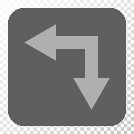 bifurcation: Bifurcation Arrow Left Down interface toolbar icon. Vector pictogram style is a flat symbol inside a rounded square button, light gray and gray colors, chess transparent background. Illustration