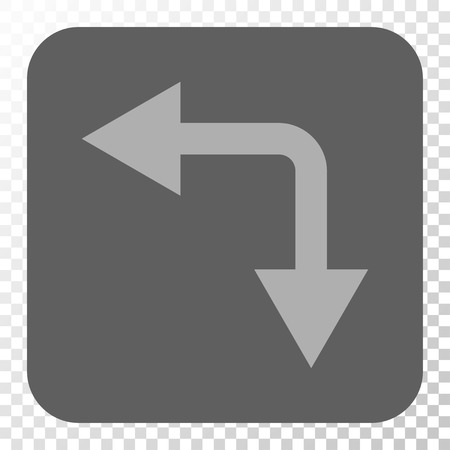 bifurcation: Bifurcation Arrow Left Down interface toolbar icon. Vector pictograph style is a flat symbol in a rounded square button, light gray and gray colors, chess transparent background. Illustration