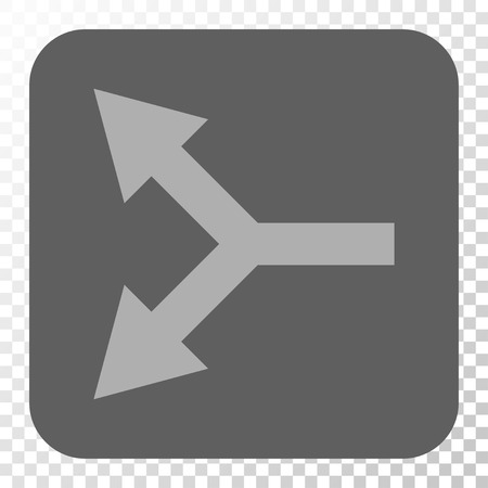 bifurcation: Bifurcation Arrow Left toolbar button. Vector pictogram style is a flat symbol on a rounded square button, light gray and gray colors, chess transparent background.