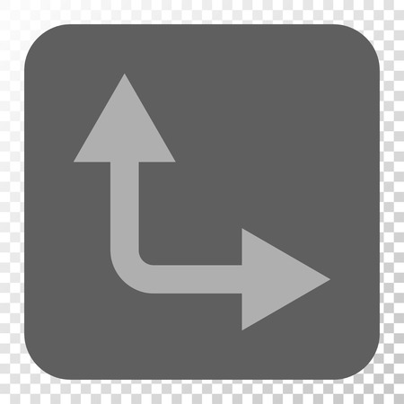 bifurcation: Bifurcation Arrow Right Up square icon. Vector pictogram style is a flat symbol in a rounded square button, light gray and gray colors, chess transparent background.