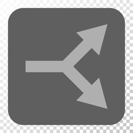 double cross: Bifurcation Arrow Right square icon. Vector pictograph style is a flat symbol inside a rounded square button, light gray and gray colors, chess transparent background.