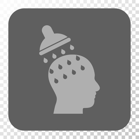 under control: Brain Washing toolbar button. Vector pictogram style is a flat symbol inside a rounded square button, light gray and gray colors, chess transparent background. Illustration