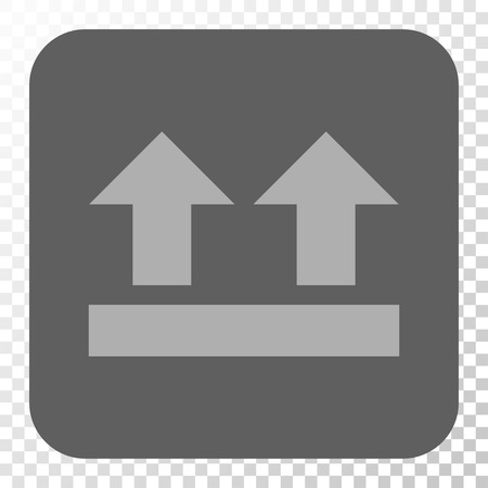bring up: Bring Up toolbar button. Vector pictograph style is a flat symbol inside a rounded square button, light gray and gray colors, chess transparent background. Illustration