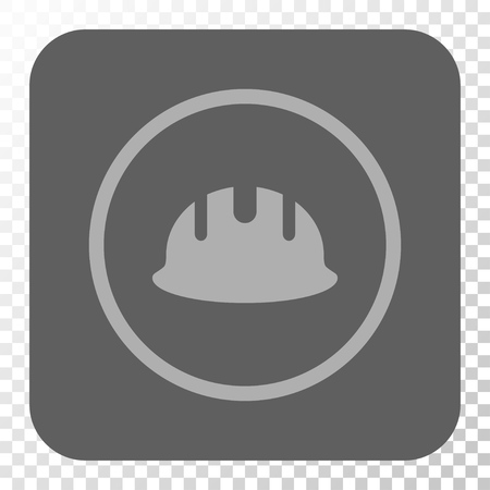 hardhat: Builder Hardhat rounded button. Vector pictogram style is a flat symbol inside a rounded square button, light gray and gray colors, chess transparent background.
