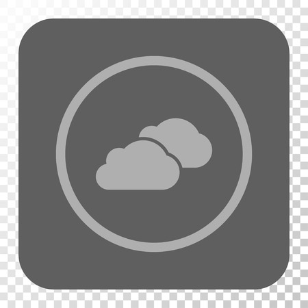 saas: Clouds toolbar button. Vector pictogram style is a flat symbol inside a rounded square button, light gray and gray colors, chess transparent background. Illustration