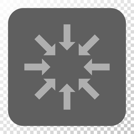 collapse: Collapse Arrows toolbar icon. Vector pictogram style is a flat symbol on a rounded square button, light gray and gray colors, chess transparent background. Vectores