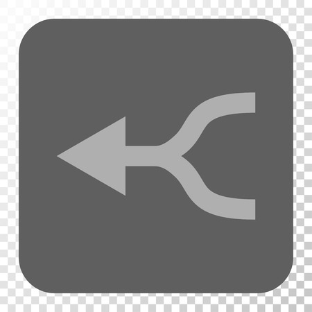 uniting: Combine Arrow Left interface icon. Vector pictogram style is a flat symbol in a rounded square button, light gray and gray colors, chess transparent background. Illustration