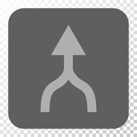 Combinez Flèche haut icône carrée. Style Vector pictographique est un symbole plat dans un bouton arrondi carré, gris clair et gris, échecs fond transparent.
