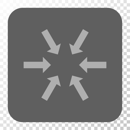 concentrate: Compact Arrows toolbar button. Vector pictograph style is a flat symbol inside a rounded square button, light gray and gray colors, chess transparent background.