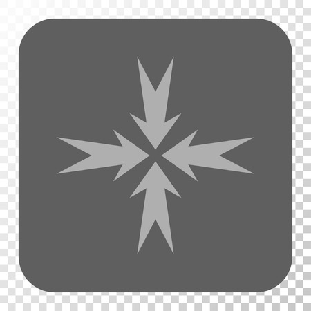 compression: Compression Arrows toolbar icon. Vector pictogram style is a flat symbol inside a rounded square button, light gray and gray colors, chess transparent background. Illustration