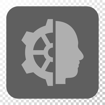 Cyborg Gear interface icon. Vector pictograph style is a flat symbol in a rounded square button, light gray and gray colors, chess transparent background. Ilustrace