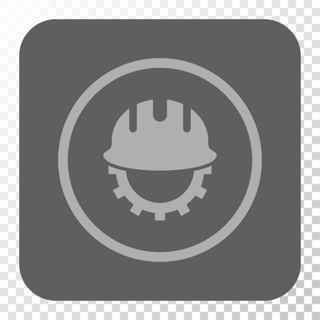 hardhat: Development Hardhat interface toolbar icon. Vector pictogram style is a flat symbol in a rounded square button, light gray and gray colors, chess transparent background. Illustration