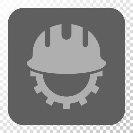 hardhat: Development Hardhat toolbar icon. Vector pictograph style is a flat symbol inside a rounded square button, light gray and gray colors, chess transparent background.