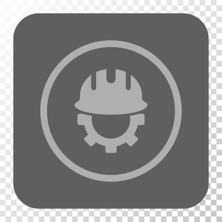 hardhat: Development Hardhat rounded button. Vector pictogram style is a flat symbol on a rounded square button, light gray and gray colors, chess transparent background. Illustration